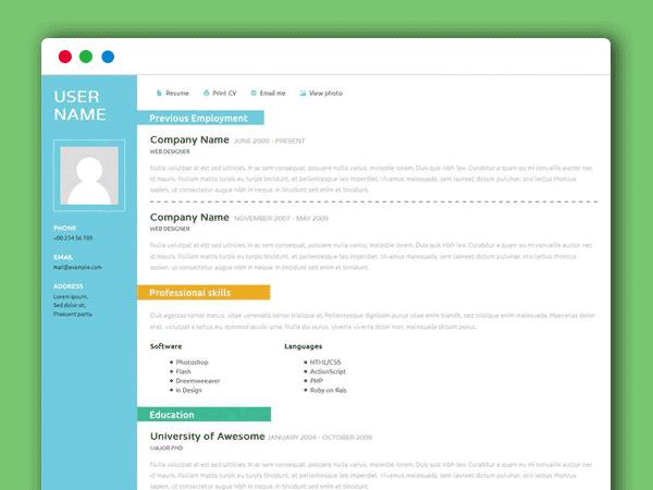 简单实用的个人简历网页模板html下载