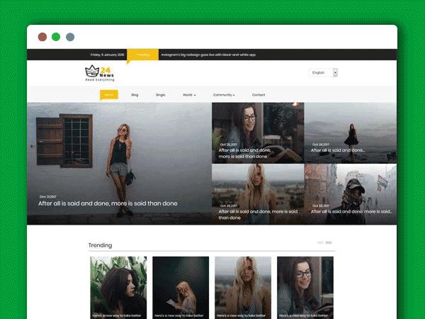 黑色通用的新闻资讯图片博客网站HTML源码模板
