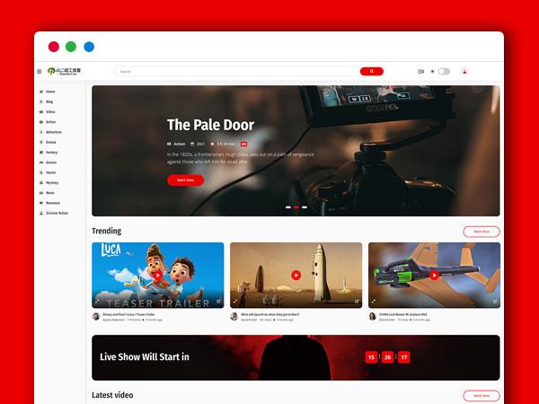 社交媒体电影小视频在线观看HTML5模板 仿油管前端 自适应